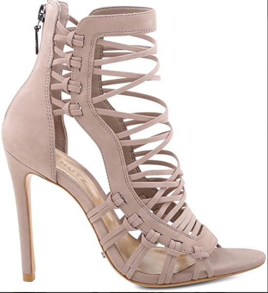 b873a7fbfe1 SCHUTZ Ermmana Neutral Nude Leather Strappy Gladiator Stiletto Sandal Heels  (9.5)