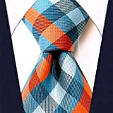 Scott Allan Men's Gingham Plaid Necktie - Turquoise and Orange