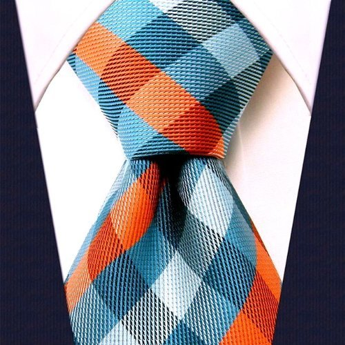Scott+Allan+Men%27s+Gingham+Plaid+Necktie+-+Turquoise+and+Orange