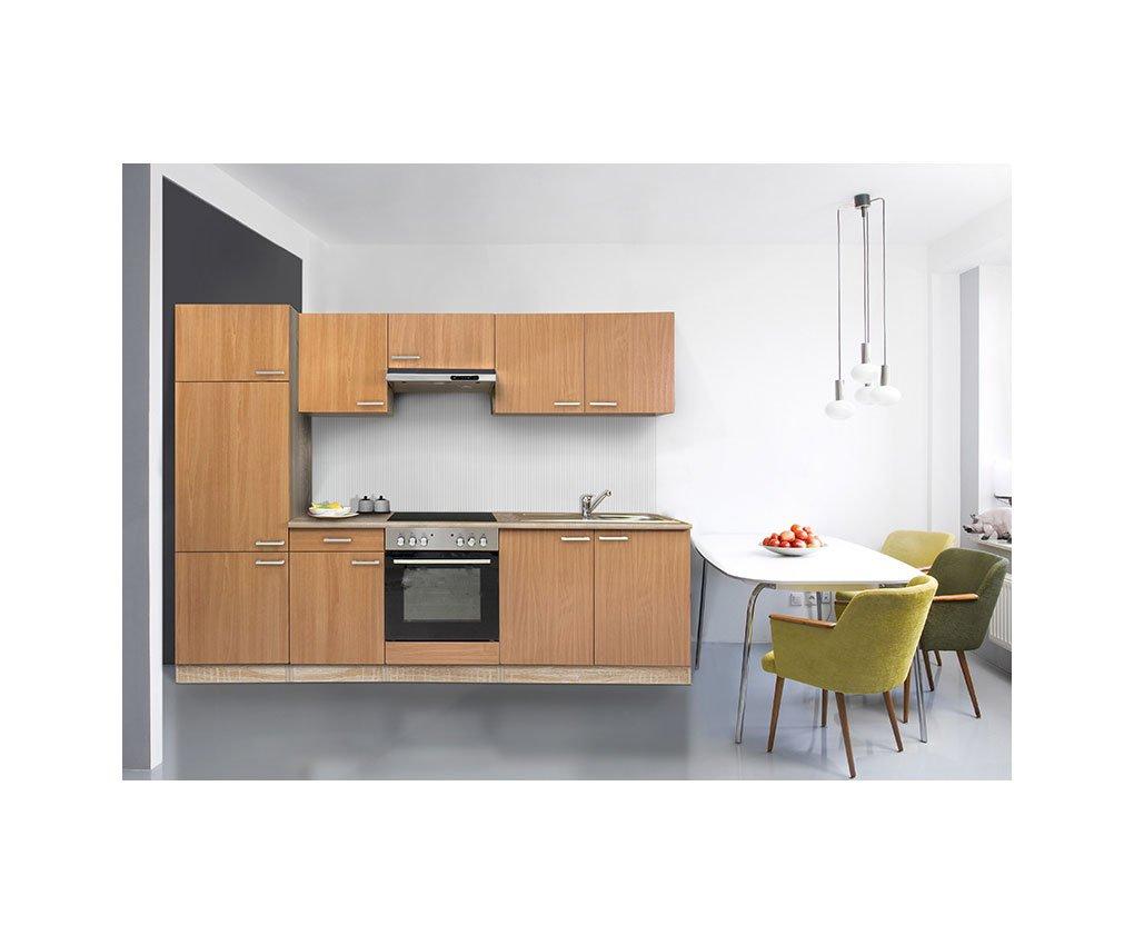 respekta Küche Küchenzeile Einbauküche Küchenblock 270 cm buche buche edelstahl ceran KB 270 BBEC