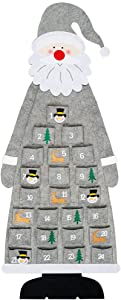 D-FantiX Felt Christmas Advent Calendar 2020, 3.75ft Wall Santa Advent Calendar with Pockets 24 Days Reusable Christmas Countdown Calendar Hanging Xmas Decorations