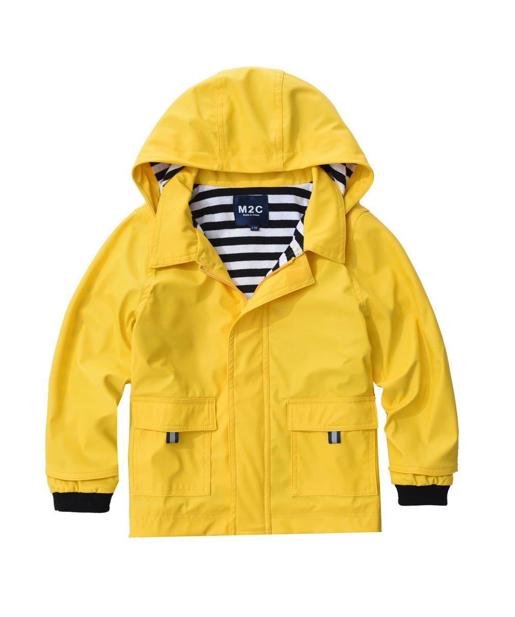 M2C Boys & Girls Hooded Waterproof Rain Jacket Cotton Lined Windbreaker 6/7 Yellow