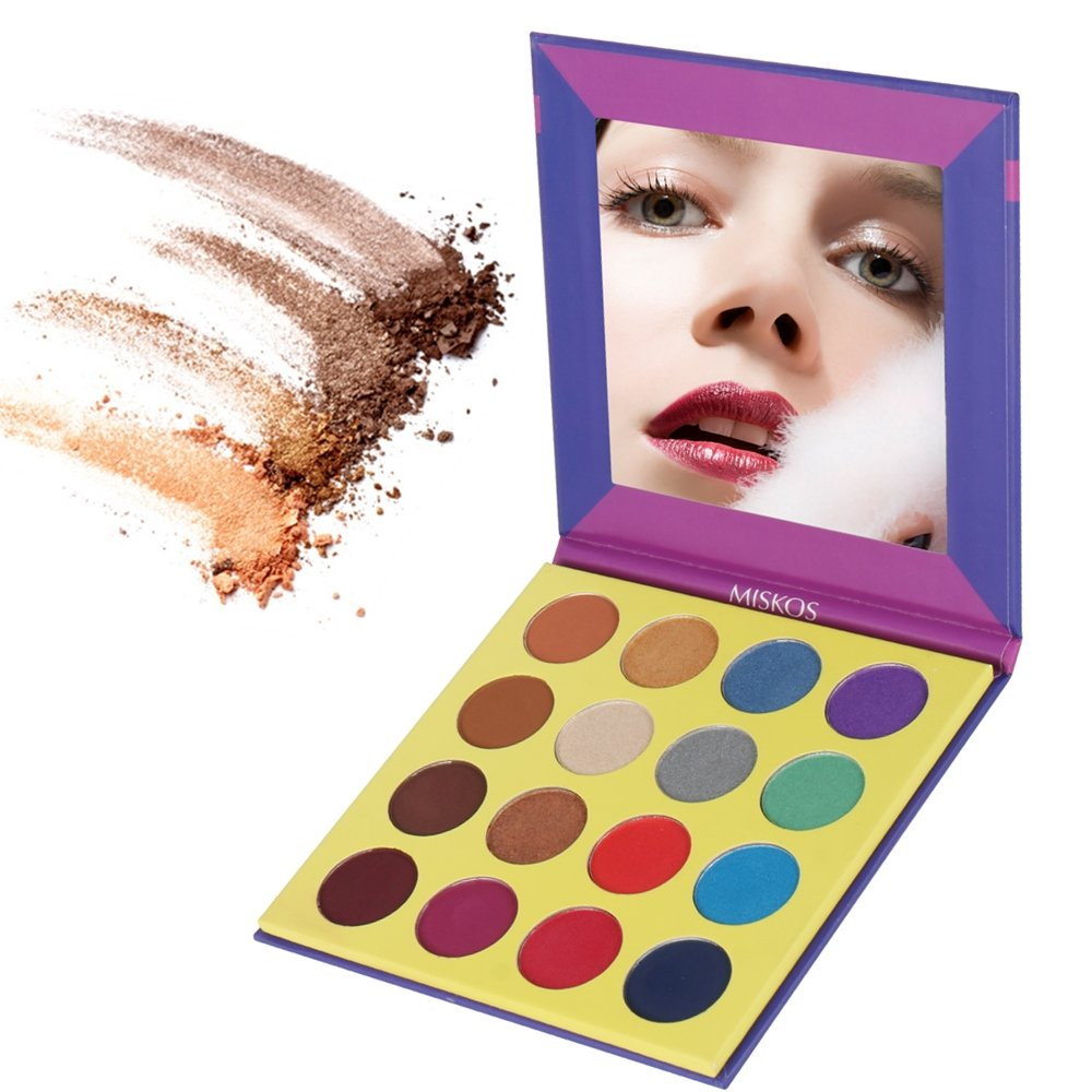 MISKOS 16 Color Purple Bright Pigmented Eyeshadow Palette Cruelty Free 8 Shimmer 8 Matte Smoky Warm Eye Shadows Nature Waterproof Eye Makeup Kit