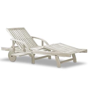 Transat chaise longue jardin bois dur acacia 2m chaise longue pliante pliable blanc