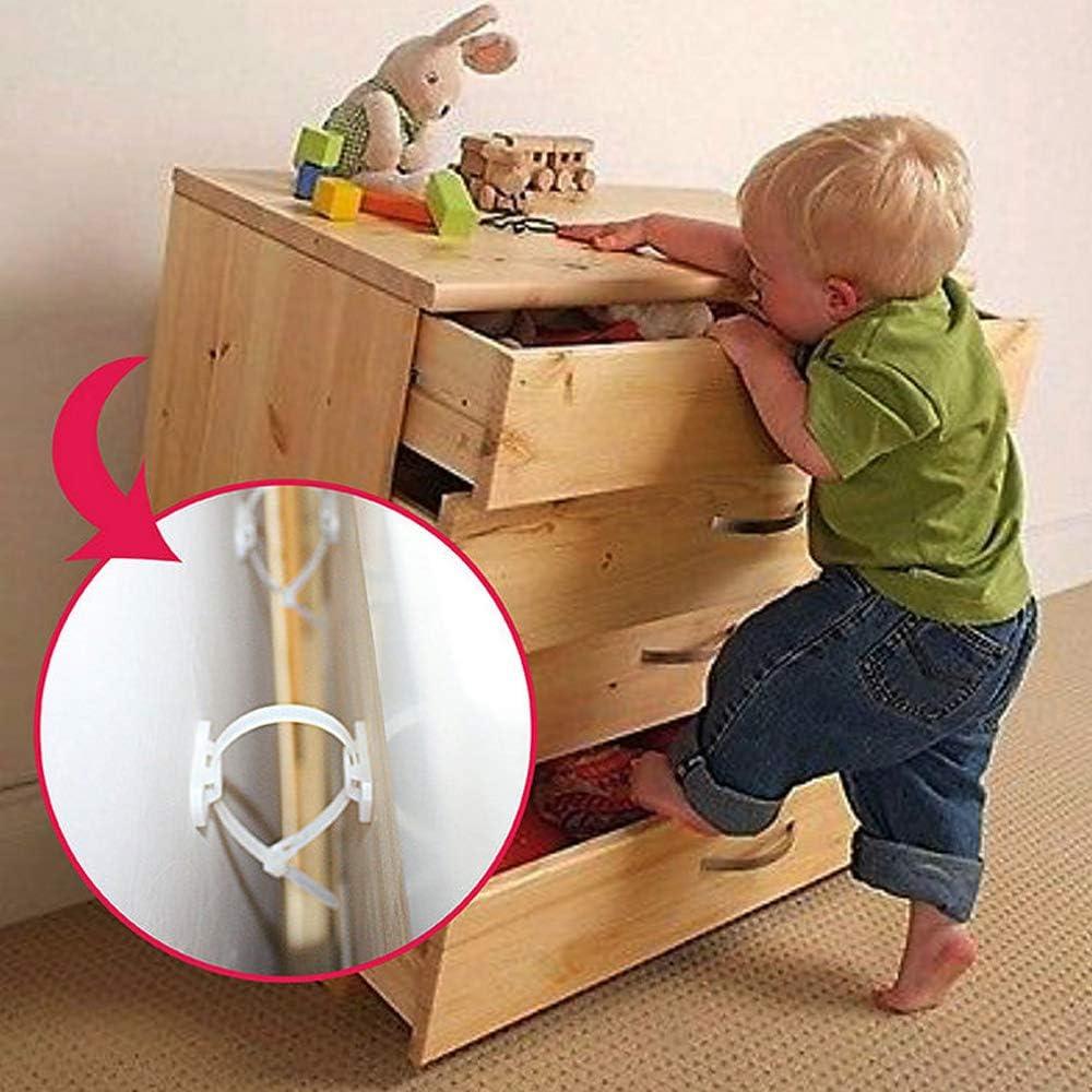 Verrous de s/écurit/é pour enfants Kit de sangles dancrage de meubles anti-basculement pour la s/écurit/é de b/éb/é Lifreer 16PCS Sangles de meubles blancs Baby Profing