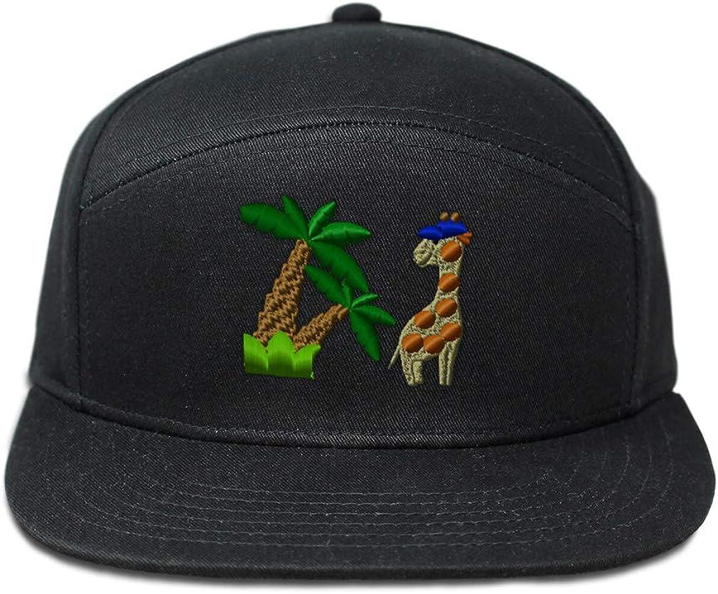 Custom Snapback Hats for Men /& Women Cool Giraffe and Palmtree Embroidery Cotton