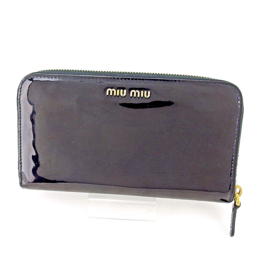 (ミュウミュウ) Miu Miu 長財布 財布 ラウンドファスナー ブラック ゴールド パープル リボンモチーフ レディース 中古 T5510   B078PFGSW7