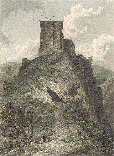 DERBYS. Peveril Castle, Derbyshire. Westall-Finden - c1833 - old print - antique print - vintage print - Derbys art ()