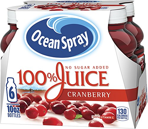 Ocean Spray 100% Juice, Cranberry, 10 Ounce Bottle (Pack of 6)
