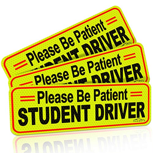 CARBATO Student Driver Magnet Safety Sign Reflective Vehicle Bumper Sticker for New Drivers, 10 x 3.5 Inch, Pack of 3 (Sign Student Driver Magnetic)