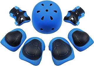 Clispeed Un Set di 7 pz Bambini Bambini Pattinaggio A Rotelle Skateboard Ciclismo Ginocchio Polsiere Pad Protezioni Protezioni Gear (Blu)