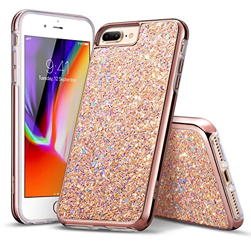 iPhone 8 Plus Case, iPhone 7 Plus Case, ESR Luxury Bling Sparkly Diamond Case [Supports Wireless Charging][Hard PC Back, Soft TPU Inner] Protective Cover Case for iPhone 5.5 inches(Rose Gold)