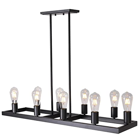 10 Lights Retro Rustic Farmhouse Kitchen Lighting,Semi Flush Mount Black  Light Fixtures Metal Rectangular Style Rustic Pendant Lighting by Lucidce