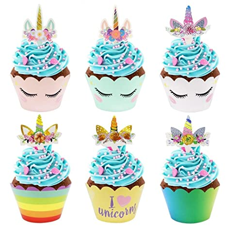Amazon.com: SelfTek 36set unicornio decoración de cupcake ...
