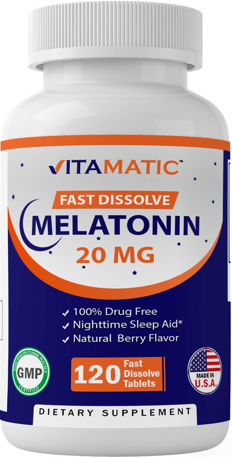 Vitamatic Melatonin 20mg Tablets   Vegetarian, Non-GMO, Gluten Free   HIGH Potency 20 MG   Natural Berry Flavor   120 Count