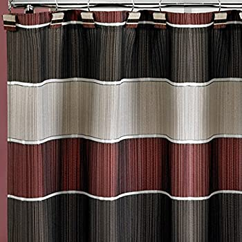Amazing Popular Home The Modern Line Collection Fabric Shower Curtain, Burgundy