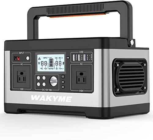 WAKYME Portable Power Station Explorer 500, 518Wh Outdoor Generator with 110V 500W AC Outlet, Portable Solar Generator Power Outage Emergency Kit