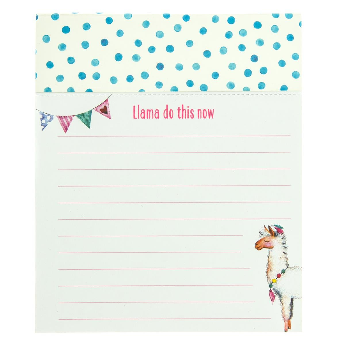 """Graphique Llama Love Jotter Notepad, Pad of Paper w/ 250 Perforated Ruled Pages and Fun """"Llama Do This Now"""" Message, Great for Kitchen Counters, Nightstands, Desks, and More, 4.5'' x 5.5'' x 1''"""