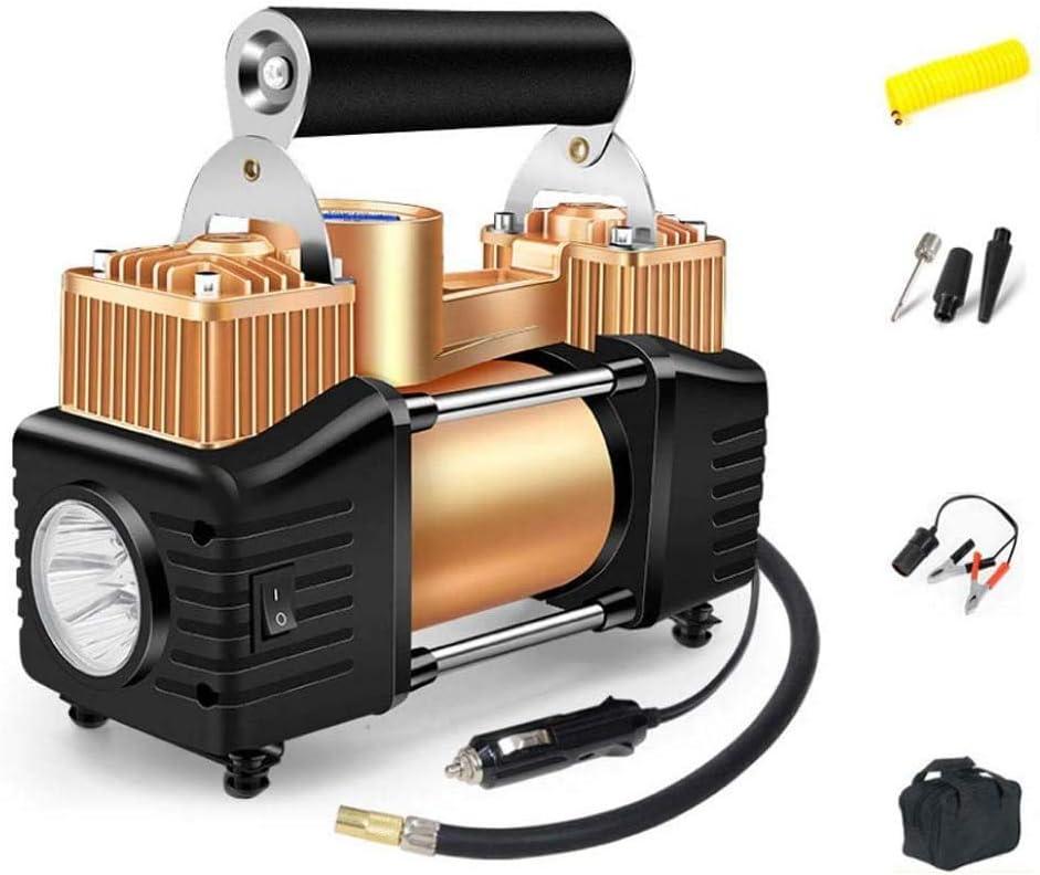 JDDSA Portátil Aire Compresor con Iluminación LED, para Trabajo Pesado 12 V Bomba de Aire con Doble Pistón para Coche, 70L/Min 150PSI Mini Compresor de Aire, Kit de Compresor de Aire