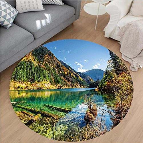 Nalahome Modern Flannel Microfiber Non-Slip Machine Washable Round Area Rug-ic View Arrow Bamboo Lake Among Mountains and Colorful Fall Woods China Blue Green Yellow area rugs Home Decor-Round 47