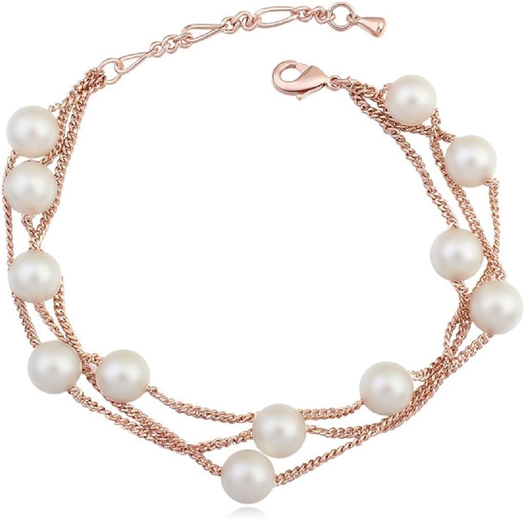Pulsera para mujer con cadenas múltiples y con cristales de Swarovski que imitan a perlas blancas, chapado en oro rosa de 18 quilates, tamaño 19,30 cm
