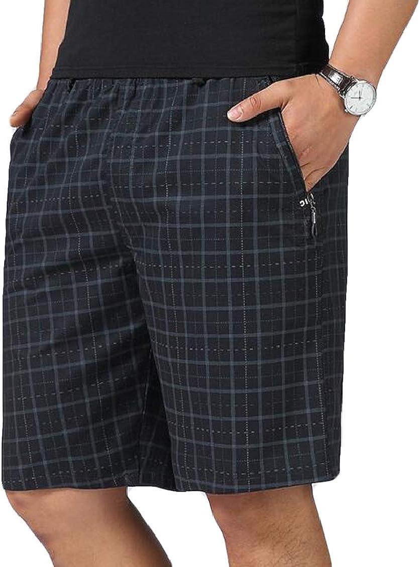 Rrive Mens Sport Stylish Casual Full Zip Elastic Waist Cotton Shorts