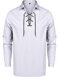 ZEROYAA Mens Scottish Jacobite Ghillie Kilt Shirt Casual Long Sleeve Lace-up Shirts Tops