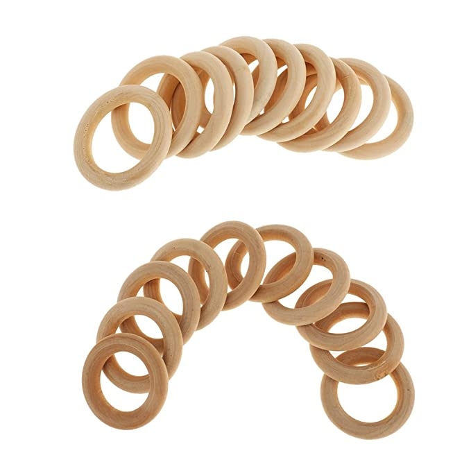 Prettyia 20Pcs Natural Wooden Baby Teether Ring Unfinished Wood Jewellery Craft
