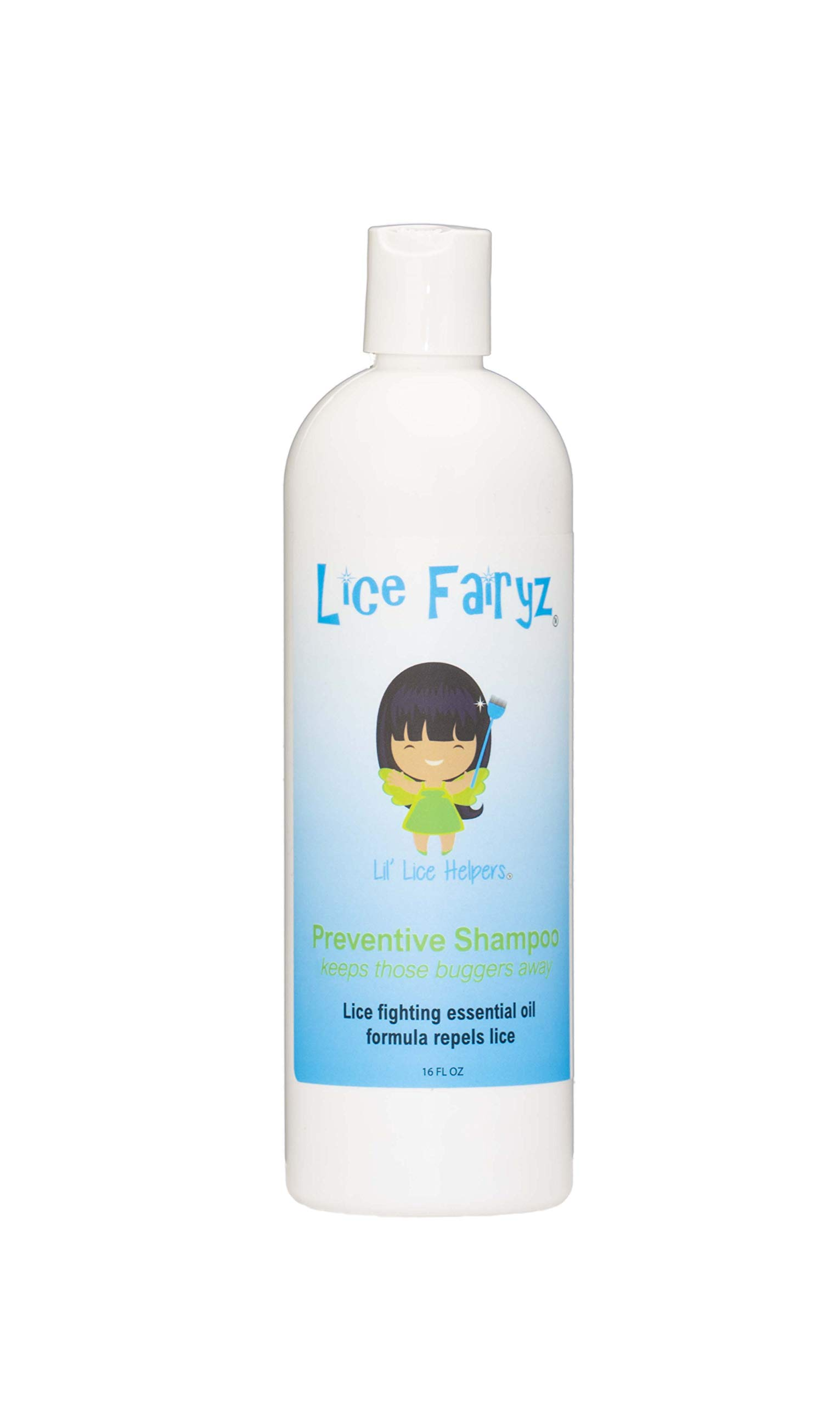 Lice Fairyz Daily Shampoo to Prevent Lice – Repel Head Lice with 100% Natural Essential Oil. Effective Against Super Lice. Use Before or After Lice Treatment. Non-Toxic. No Pesticides. 16 oz