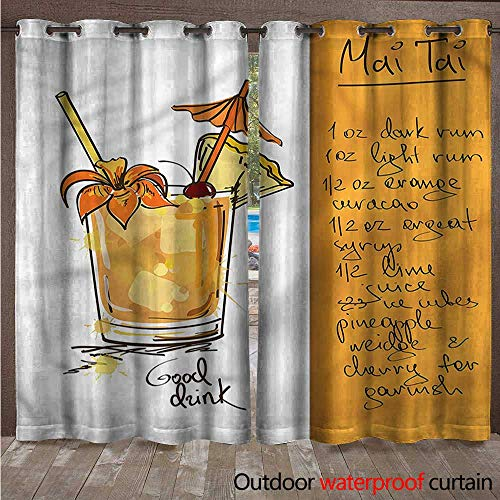 (cobeDecor Tiki Bar Outdoor Curtain for Patio Mai Tai Cocktail Recipe W84 x L84(214cm x 214cm))