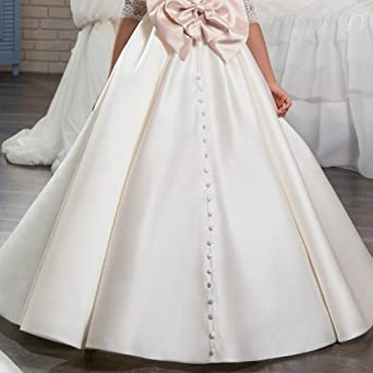 Amazon.com: OBEEII Big Girl Lace Flower First Communion Tutu Dress Pageant Wedding Ball Gown: Clothing