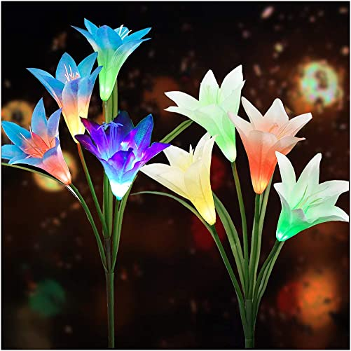 Solar Flower Lights Outdoor 2020 New Upgraded Multi-Colors Changing LED Decorative Lights,Outdoor Solar Garden Stake Lily Lights,Solar Powered Lights for Garden 2 Pack,White Blue