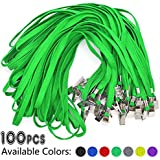 Green Lanyards 100 Pack Bulk Badge Lanyards with Clip Neck Flat Lanyard with Badge Lanyard Bulldog Clip
