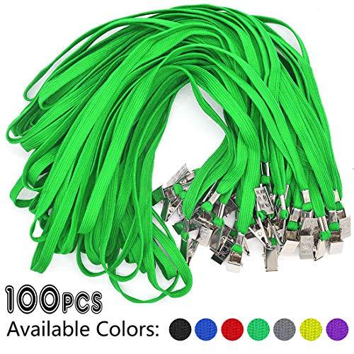 Green Lanyards 100 Pack Bulk Badge Lanyards with Clip Neck Flat Lanyard with Badge Lanyard Bulldog Clip -