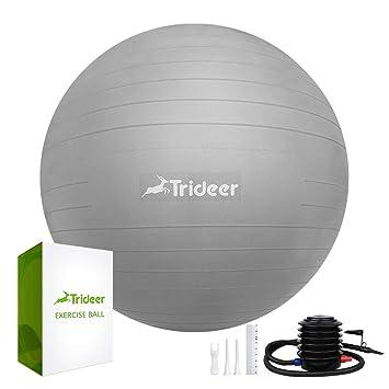 Robuster 700kg Maximalbelastbarkeit Sitzball Pilates Ball Yoga Ball als Fitness Kleinger/äte und Balance Stuhl im Gym-Home-B/üro Trideer Dicker Anti-Burst Gymnastikball inkl Ballpumpe
