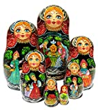 Girlfriends 7 Piece Babushka Nesting Doll in Doll Stacking Toy Authentic Russian made Work of Art. Signed by Artist