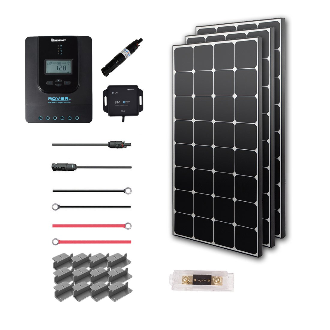 Renogy 300 Watt 12 Volt Off Grid Premium Eclipse Solar Panel and 40A MPPT Rover Controller Mounting Z Brackets Adaptor Kit Tray Cables Set MC4 Fuse, 300W-40A