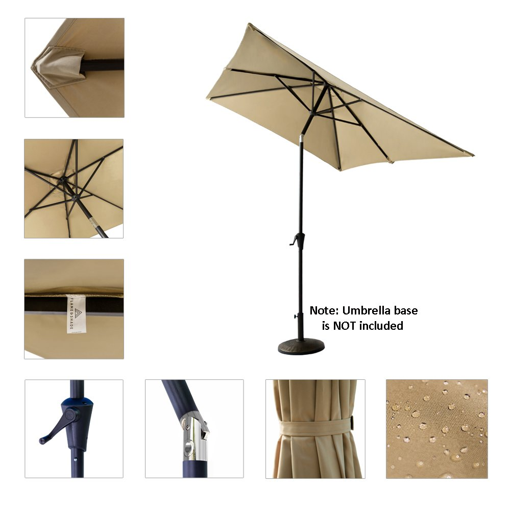 FLAME&SHADE 6ft 6in x 10 ft Rectangular Outdoor Market Patio Umbrella Parasol with Crank Lift, Push Button Tilt, Beige by FLAME&SHADE (Image #4)