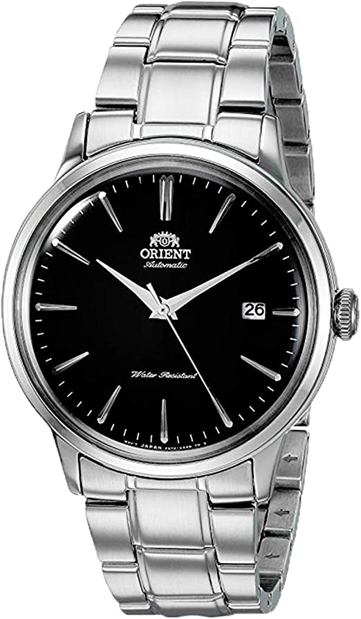 """Amazon.com: """"Orient Men's """" Bambino Version 5"""" Japanese Automatic / Hand-Winding  Stainless Steel Bracelet Dial Color: Black Model #: RA-AC0006B10A"""": Watches"""