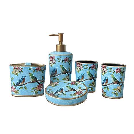 Lamya Juego De Accesorios De Baño 5 Piezas,Estilo Rústico Ceramica Jabonera, Dispensador De
