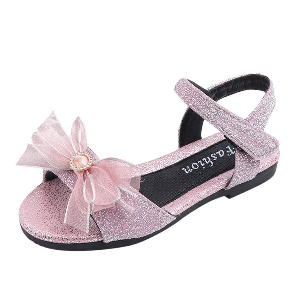 ❤️ Mealeaf ❤️ Toddler Kids Baby Girls Summer Bling Bowknot Sweet Party Princess Shoes Sandals(Black,36)