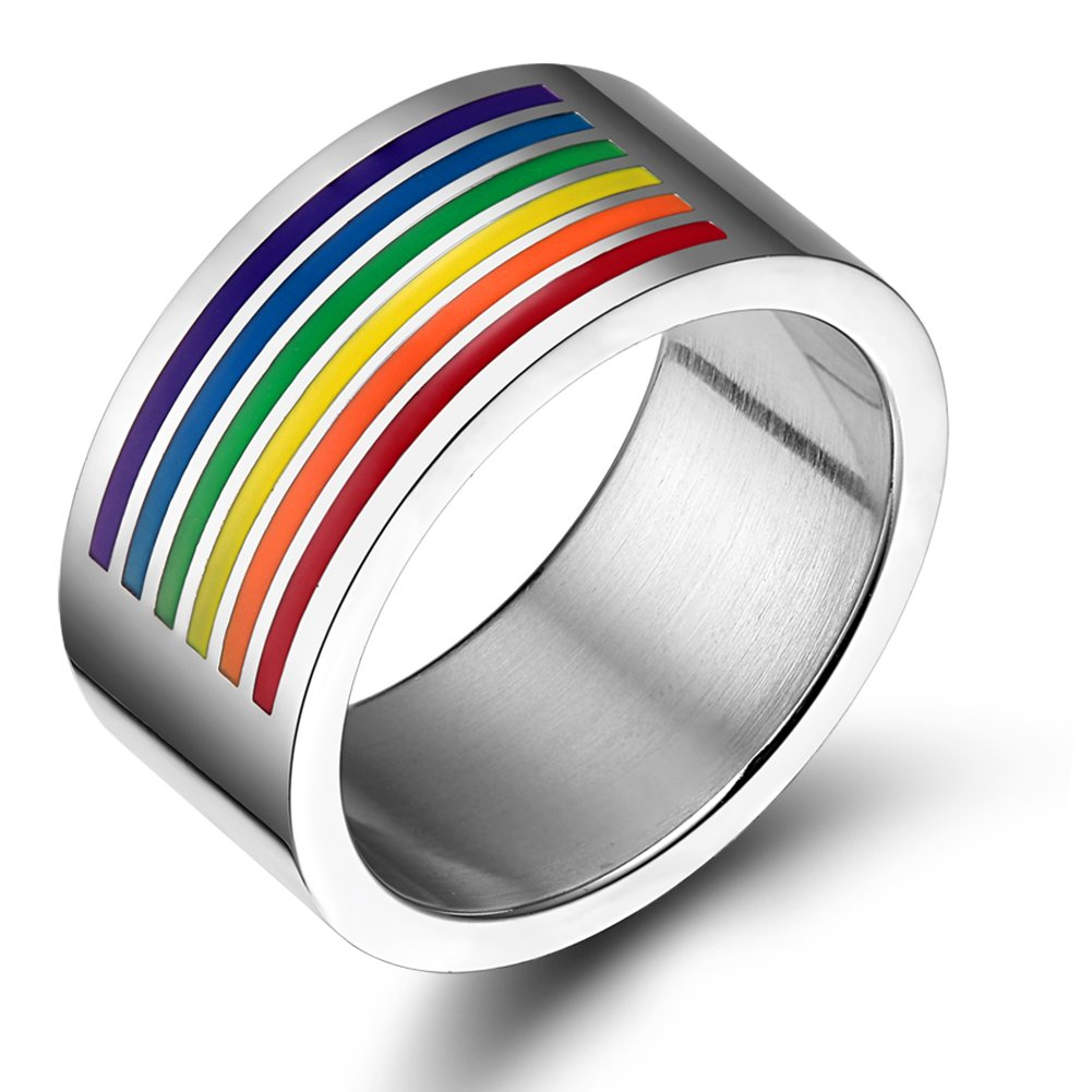 Vnox Jewelry Gay & Lesbian Pride Stainless Steel Rainbow Enamel Ring,10mm Wide,Size 6 to 12 PR--006