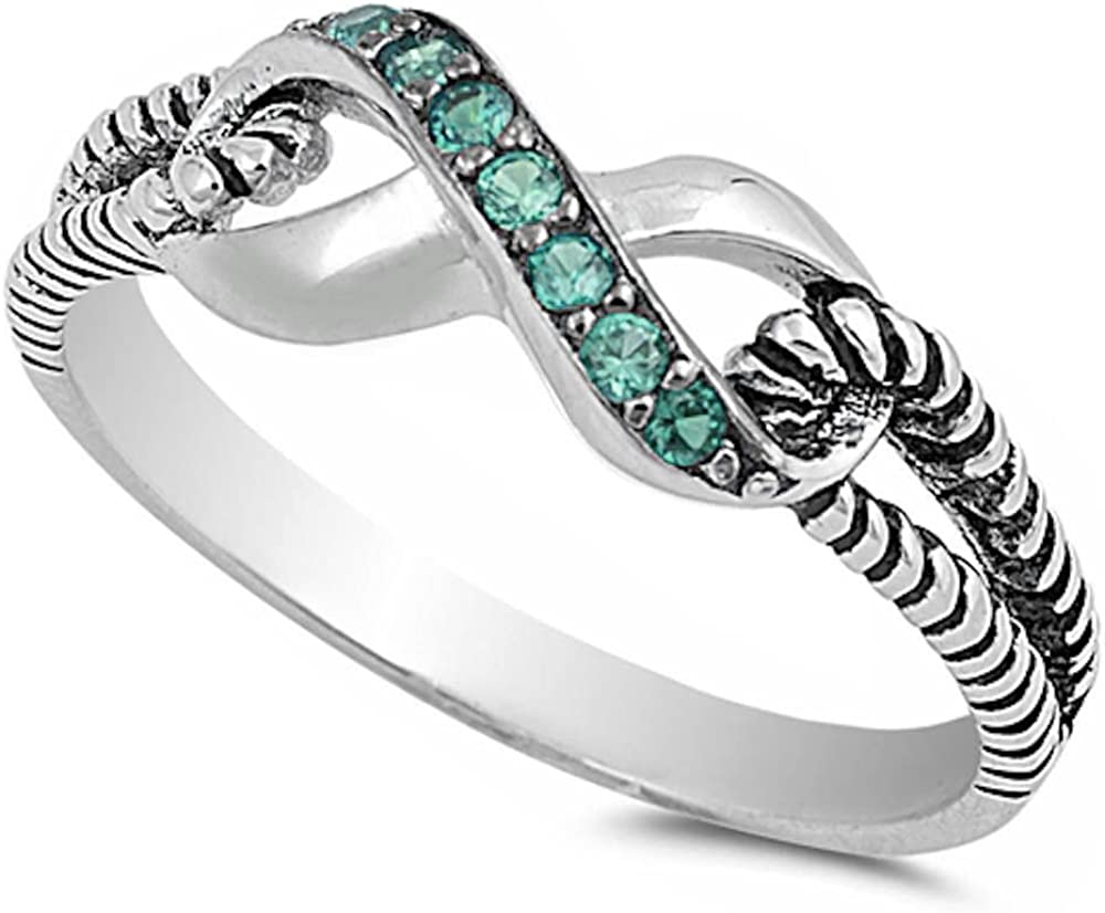 925 Sterling Silver Simulated Emerald Infinity Knot Ring Sizes 3-11