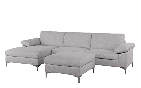 Incredible Large 108 2 Inch Sectional Sofa With Ottoman L Shape Couch With Chaise Light Grey Ibusinesslaw Wood Chair Design Ideas Ibusinesslaworg