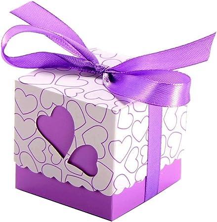 JZK 50 x Cajas detalles boda con cintas para bombones caramelos dulces regalo para Invitados boda fiesta navidad comunion cumpleaños graduación decoración: Amazon.es: Hogar