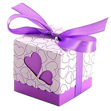 JZK 50 x Cajas detalles boda con cintas para bombones caramelos dulces regalo para Invitados boda fiesta navidad comunion cumpleaños graduación ...
