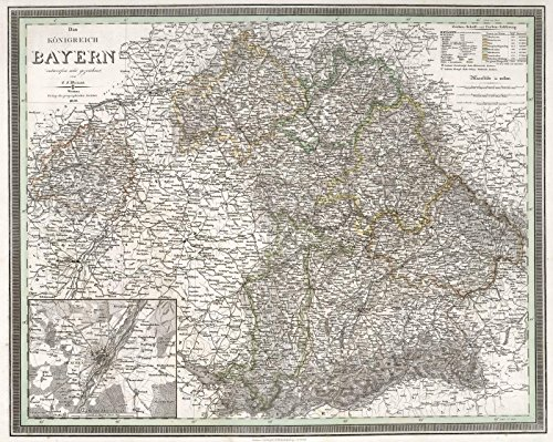 oenigreich Bayern. Kingdom of Bavaria, Germany. | Historic Antique Vintage Map Reprint (Germany Antique Map)