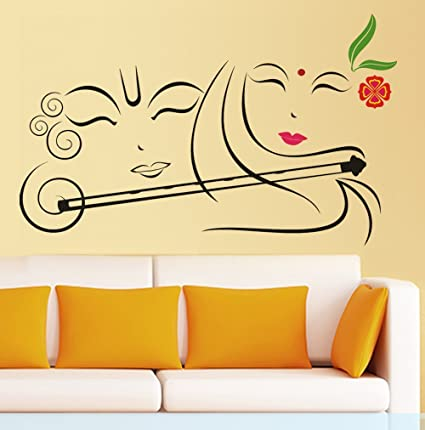 Buy Happy Walls Radha Krishna Spiritual Art with Flute in Vector ...