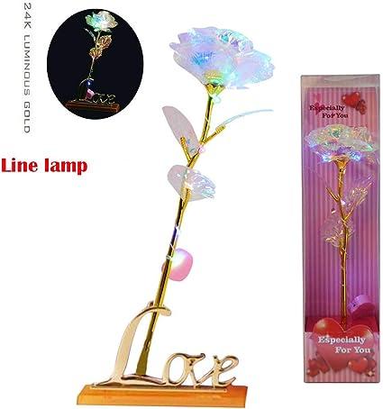 Valentine/'s Day Gift 24K Foil Plated LED Rose Flower Forever Wedding Party Decor