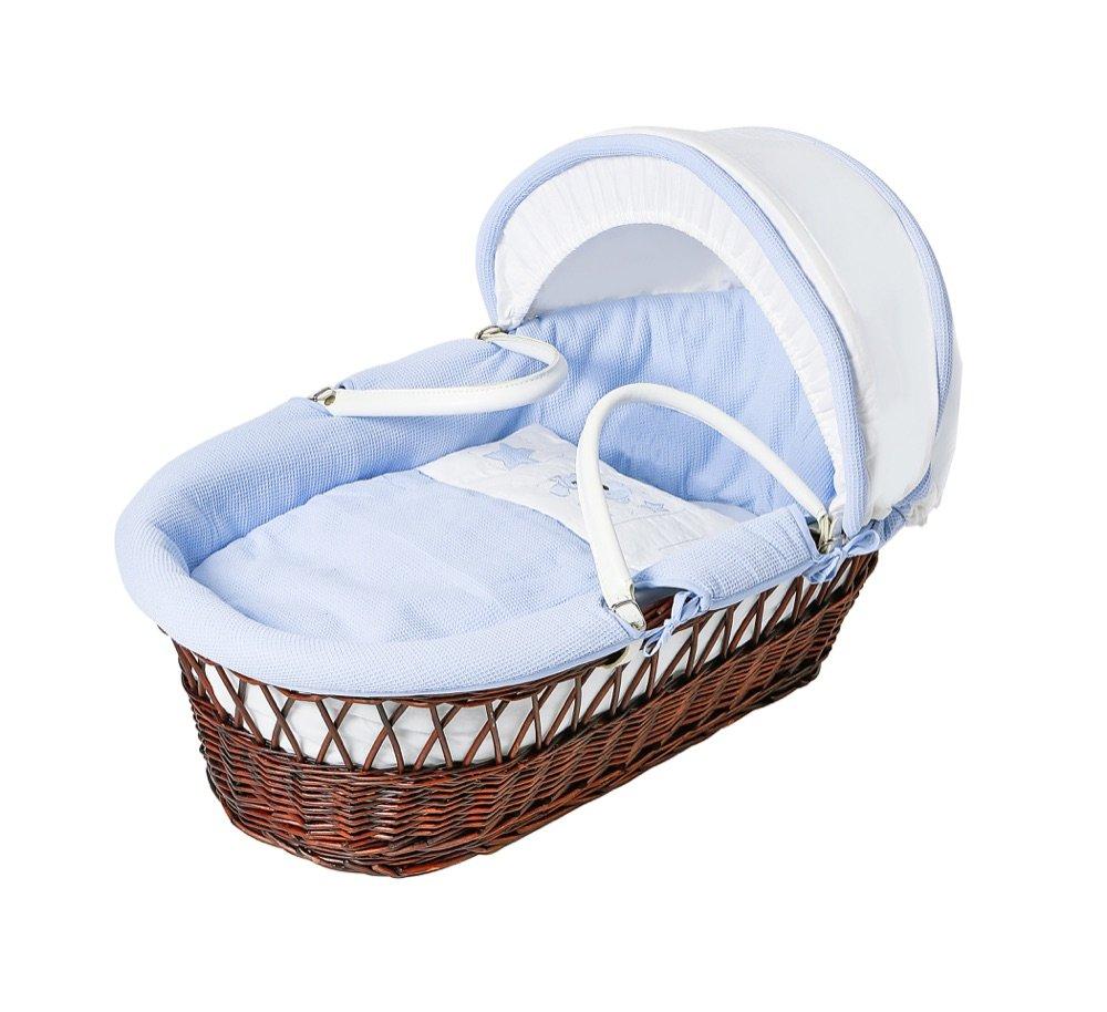 Baby Elegance Ted Dark Wicker Moses Basket, Blue Star Baby Elegance UK 1777